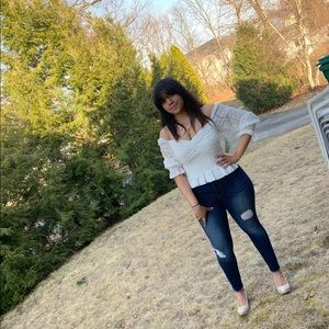 Charlotte Russe Off the shoulder white top